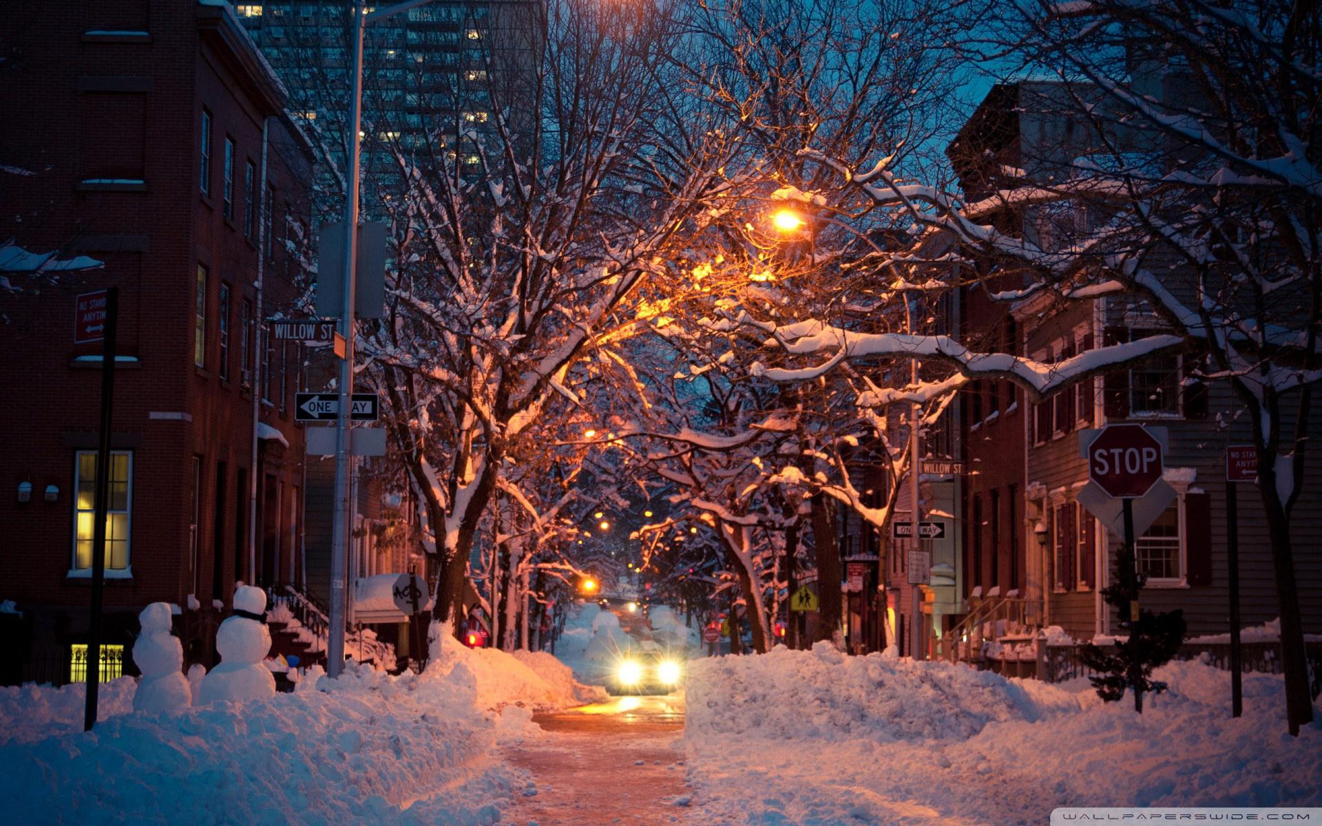 город зимой картинки вечерний